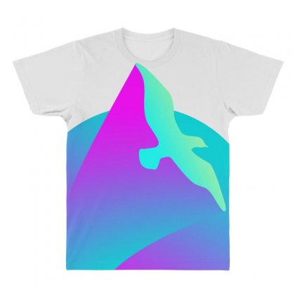 Vaporwave Gradient  Bird Flying All Over Men's T-shirt Designed By Seniha