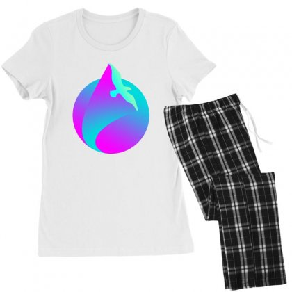 Vaporwave Gradient  Bird Flying Women's Pajamas Set Designed By Seniha