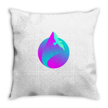 Vaporwave Gradient  Bird Flying Throw Pillow Designed By Seniha