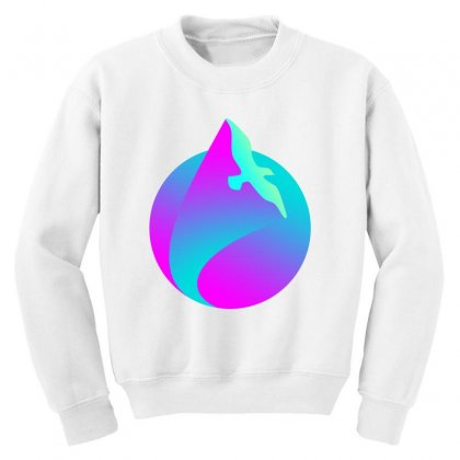 Vaporwave Gradient  Bird Flying Youth Sweatshirt Designed By Seniha