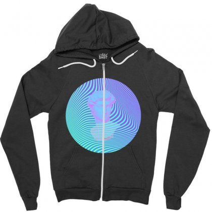 Vaporwave Sculpture Abstract Stripes Zipper Hoodie Designed By Seniha
