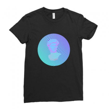 Vaporwave Sculpture Abstract Stripes Ladies Fitted T-shirt Designed By Seniha
