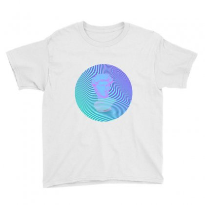 Vaporwave Sculpture Abstract Stripes Youth Tee Designed By Seniha