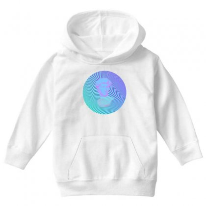 Vaporwave Sculpture Abstract Stripes Youth Hoodie Designed By Seniha