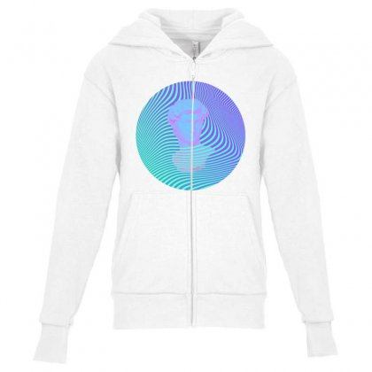 Vaporwave Sculpture Abstract Stripes Youth Zipper Hoodie Designed By Seniha