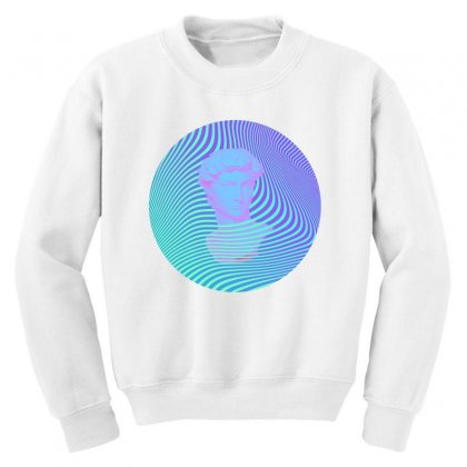 Vaporwave Sculpture Abstract Stripes Youth Sweatshirt Designed By Seniha