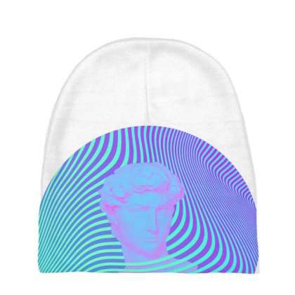 Vaporwave Sculpture Abstract Stripes Baby Beanies Designed By Seniha