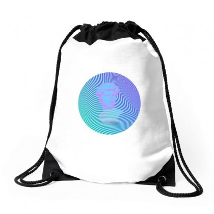 Vaporwave Sculpture Abstract Stripes Drawstring Bags Designed By Seniha