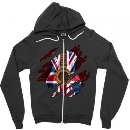 British Guitar Flag Inside Zipper Hoodie Designed By Sengul