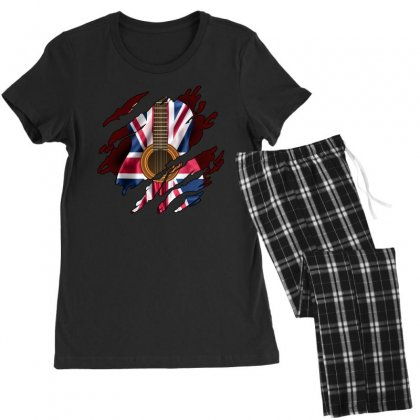 British Guitar Flag Inside Women's Pajamas Set Designed By Sengul