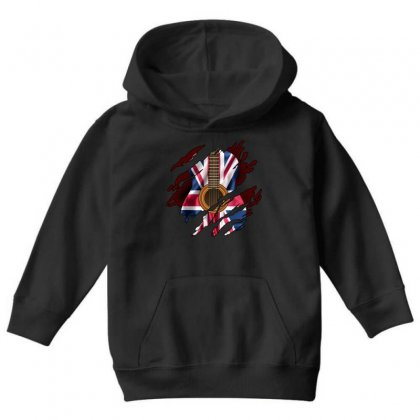 British Guitar Flag Inside Youth Hoodie Designed By Sengul