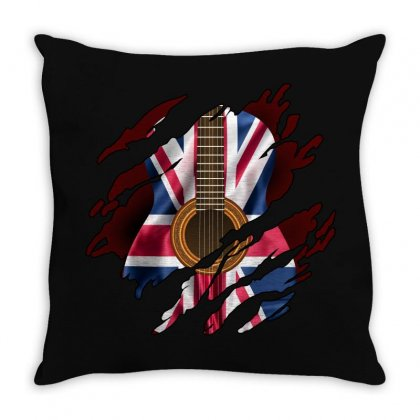 British Guitar Flag Inside Throw Pillow Designed By Sengul