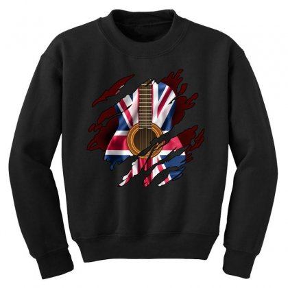 British Guitar Flag Inside Youth Sweatshirt Designed By Sengul