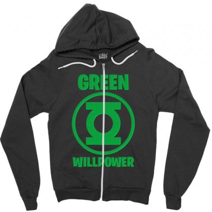 Green Willpower Zipper Hoodie Designed By Sengul