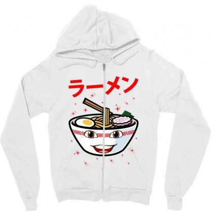Cute Ramen For Light Zipper Hoodie Designed By Nurbetulk