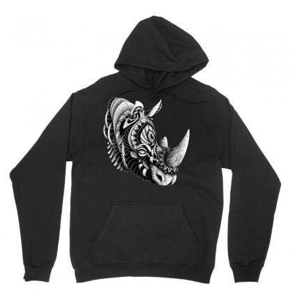 Rhino Ornate Unisex Hoodie Designed By Quilimo