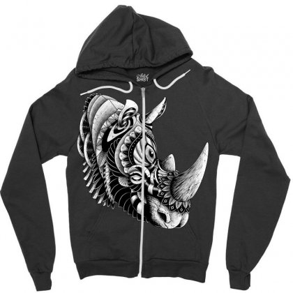 Rhino Ornate Zipper Hoodie Designed By Quilimo