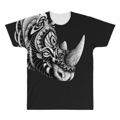 Rhino Ornate All Over Men's T-shirt Designed By Quilimo