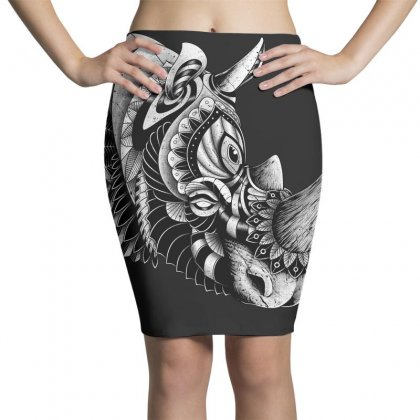 Rhino Ornate Pencil Skirts Designed By Quilimo
