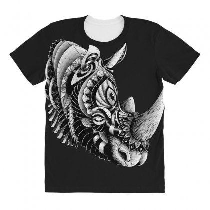 Rhino Ornate All Over Women's T-shirt Designed By Quilimo