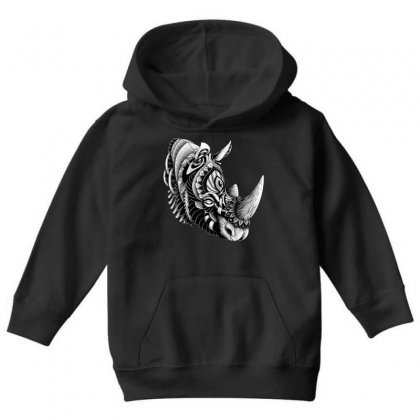 Rhino Ornate Youth Hoodie Designed By Quilimo