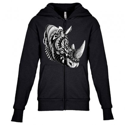 Rhino Ornate Youth Zipper Hoodie Designed By Quilimo