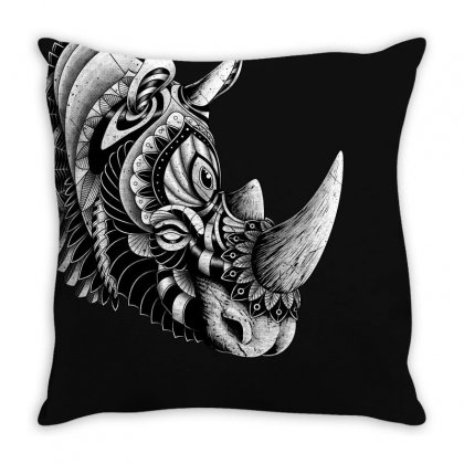 Rhino Ornate Throw Pillow Designed By Quilimo