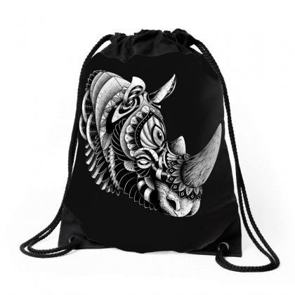 Rhino Ornate Drawstring Bags Designed By Quilimo