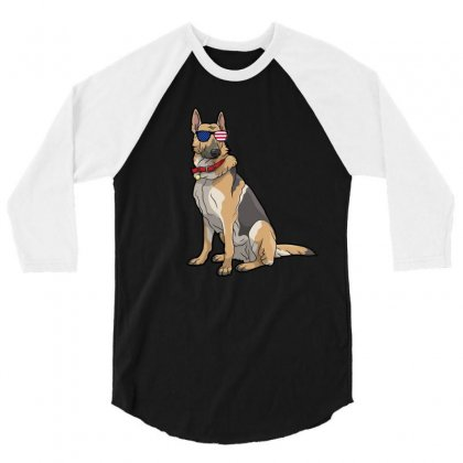 German Shephered Independence Day T Shirt 3/4 Sleeve Shirt Designed By Hung