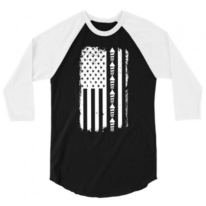 Firework Flag   Independence Day Tshirt 3/4 Sleeve Shirt Designed By Hung