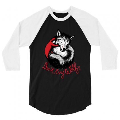 Dont Cry Wolf 3/4 Sleeve Shirt Designed By Fejena