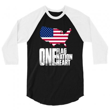 One Flag One Nation One Heart T Shirt 3/4 Sleeve Shirt Designed By Hung