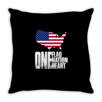 One Flag One Nation One Heart T Shirt Throw Pillow Designed By Hung