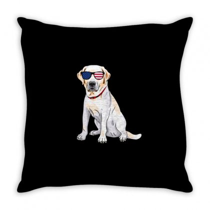 Labrador Independence Day T Shirt Throw Pillow Designed By Hung