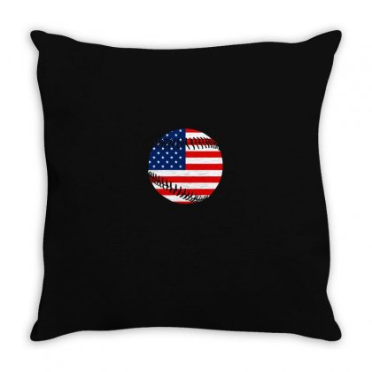 Independence Day Baseball T Shirt Throw Pillow Designed By Hung