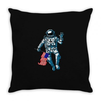 Independence Day Astronaut Usa Flag T Shirt Throw Pillow Designed By Hung