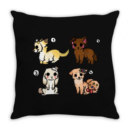 Cute Dogs Throw Pillow Designed By Fejena