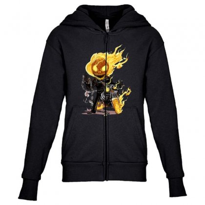 Ghost Rider Youth Zipper Hoodie Designed By Fejena