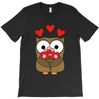 Owl With Flower & Heart Love T-shirt Designed By Fejena