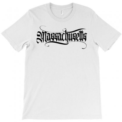 Massachusetts Lettering T-shirt Designed By Tiococacola