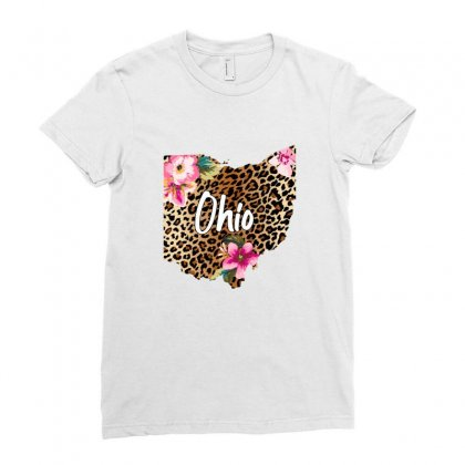 Ohio Leopard Map Ladies Fitted T-shirt Designed By Sengul