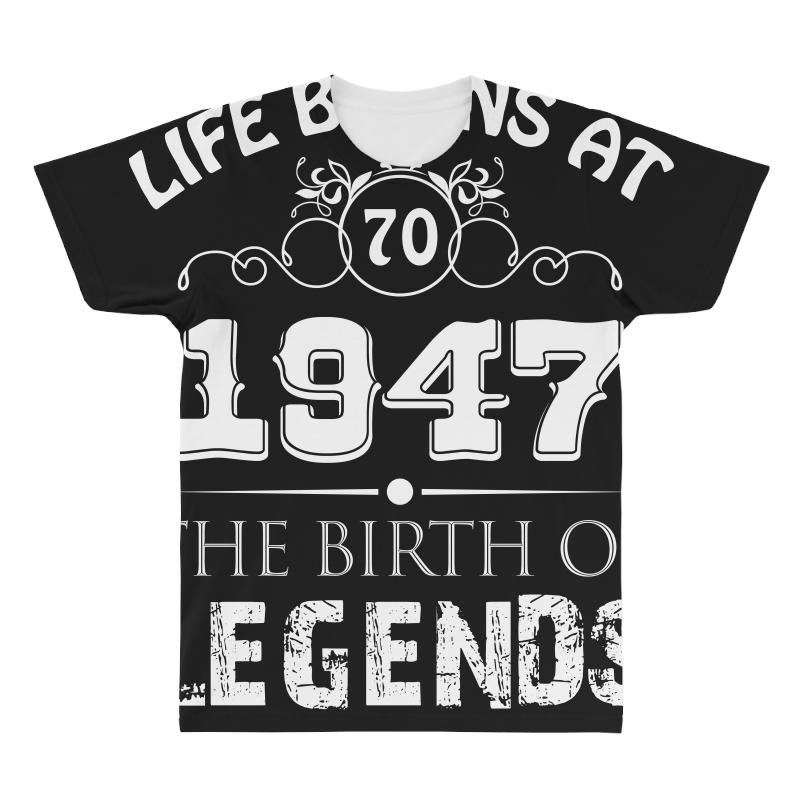Custom Life Begin At 1947 70th Birthday T Shirt All Over Mens By Hung