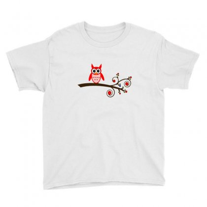 Red Owl On Branch Youth Tee Designed By Feniavey