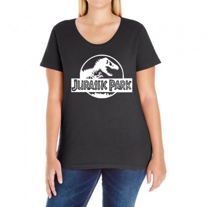 Jurassic Park Logo Ladies Curvy T-shirt Designed By 4kum