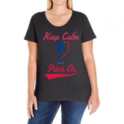Keep Calm And Pitch On Ladies Curvy T-shirt Designed By 4kum