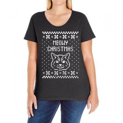 Meowy Christmas Ladies Curvy T-shirt Designed By 4kum
