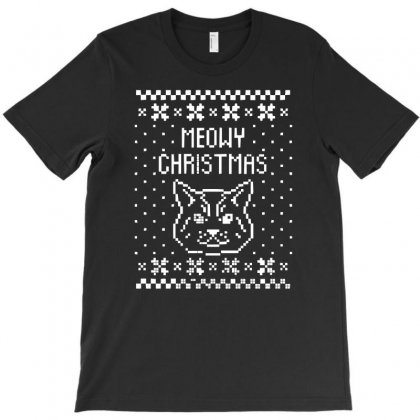 Meowy Christmas T-shirt Designed By 4kum