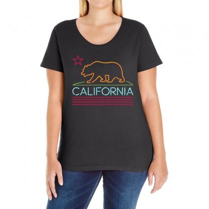 Neon Sign California Republic Flag Bear Ladies Curvy T-shirt Designed By 4kum