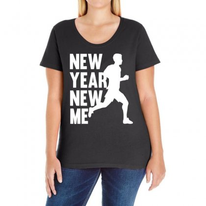 New Year, New Me Running Fitness Ladies Curvy T-shirt Designed By 4kum