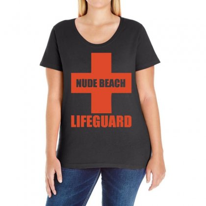 Nude Beach   Lifeguard Ladies Curvy T-shirt Designed By 4kum
